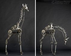 cheetahs, animals, metals, art, andrew chase, robot, animal sculptures, steampunk, giraffes