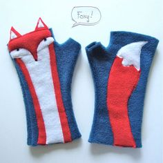 PREORDER, Fingerless Gloves, RED Fox, soft, washable fleece, wrist warmers