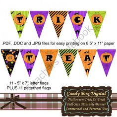 Halloween Trick-or-Treat Full-Size Banner from Candy Box Digital on TeachersNotebook.com -  (72 pages)  - Just in time for Halloween, a colorful banner for spooky Halloween fun!