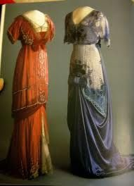 In a time when almost every item of clothing is constructed of some type of synthetic fabric and very little attention is paid to detail the longing for such beautiful fabrics and magnificent construction is high.  These gowns are from the early 1900's and are in the Edwardian style.  The long, sleek silhouette  is flattering for most figures and far more comfortable than the earlier 'wasp' waist styles. This style is a fabulous choice for a unique wedding gown to express your personality.