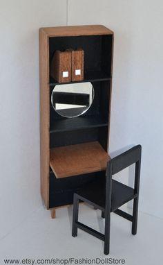 Barbie doll house furniture_handmade modern mid century doll dresser / self  for 11.5 inch fashion dolls.