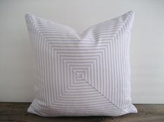 Pillow Cover Mitered Purple Lavender Ticking Stripes