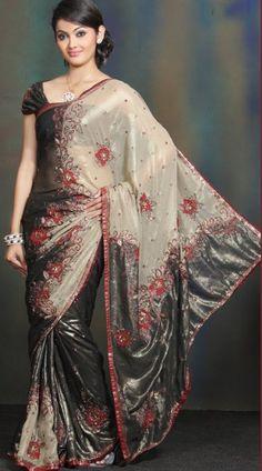 Beautiful Black and Cream Saree