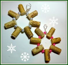 Wine cork snowflake ornament - Just in time for Christmas! Use recycled corks to for the recycled ornament craft.