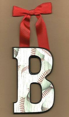 Red, Black, and White Baseball Letters!! So very cute for boys sports room or baby boy nursery!!