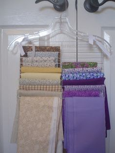 Tie a wire cooling rack to a hanger for space-saving storage of fat quarters, half yards, etc.
