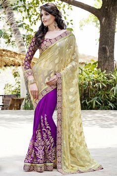 Tantalizing Magenta and Rich Cream Sari