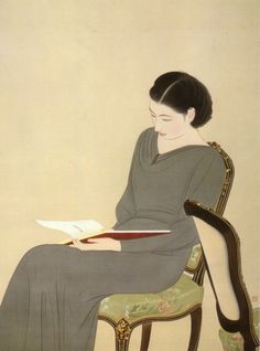 japan, nakamura daizaburo18981947, lectura, read books, reading books, women read, art pieces, grey dresses, daizaburo 18981947