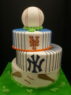 Mets and Yankees Bar Mitzvah Cake - This cake was for 2 Bar Mitzvah boys. One was a fan of the NY Mets. The other a fan of the NY Yankees. This was our solution.