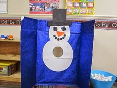 White scrap paper with letters/numerals/shapes on it.  ID the item.  Wad the paper.  And throw the 'snowball' at the snowman.  Mrs. Karen's Preschool Ideas: Winter Week Part 2