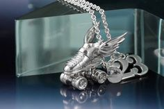 Custom Made Custom Silver Roller Derby Skate Necklace by Lauren Grace Jewelry