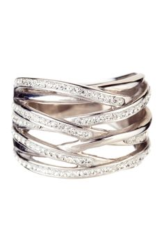 Sterling Silver Multi-Row Crystal Ring