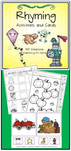 The time is right. Help is in sight! Come take a look, At this rhyming book!  Included in the unit: * printables for a variety of rhyming activities * color copies for center activities * games to reinforce the concepts