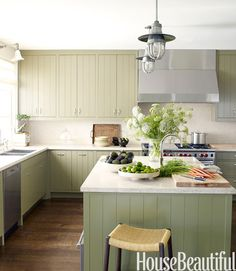 pale green painted cabinets