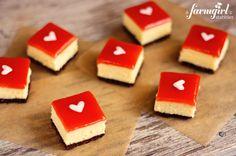 white chocolate cheesecake squares with strawberry glaze - www.afarmgirlsdabbles.com