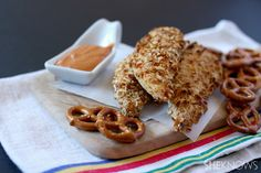 Pretzel-crusted chicken with spicy mustard dipping sauce