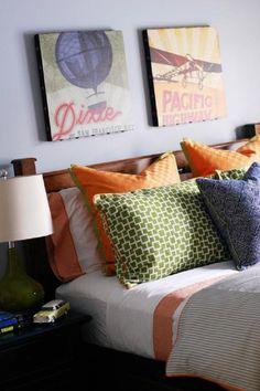 "Color inspiration for a ""big boy"" room: orange, blue, green and brown"