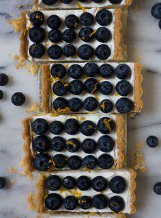 Honeyed-Yogurt Blueberry Tart with an Almond Cardamom Crust
