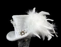 White on White Elegant Wedding Mini Top Hat Fascinator, Alice in Wonderland, Mad Hatter Tea Party, Derby Hat, Bridal, Victorian on Etsy, $46.00