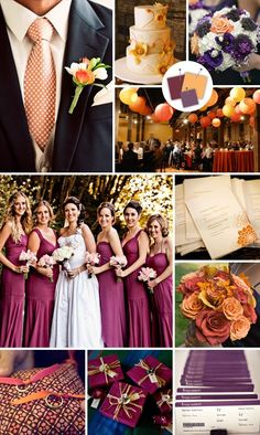 Burgundy, Creamsicle, Plum Wedding Color Palette #weddingwishes #favoritecolorispurple