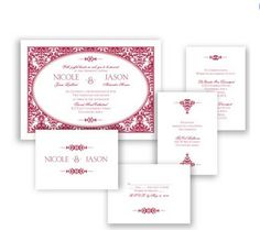 Joyful Damask Wedding Invitation in Apple by David's Bridal #davidsbridal #weddinginvitation #redwedding