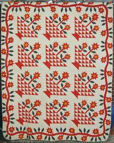 vintag quilt, 1870s star, flower baskets, basket quilt, basket appliqu