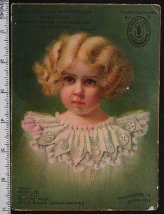 Large 1890 SINGER SEWING MACHINE VICTORIAN TRADE CARD
