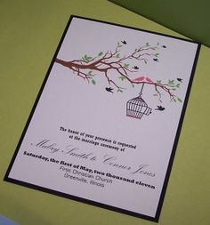 Personalized Wedding Invitation Birds in by SimplyStampedInvites, $3.00