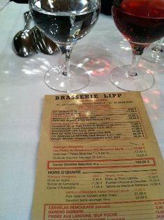 menu Brasserie Lipp paris