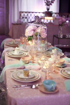 lavender and sparkly tablescape