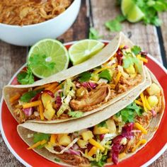 "Crock Pot Hawaiian BBQ Chicken Tacos with Pineapple Slaw. Doesn't this just scream ""summer"" to you?"