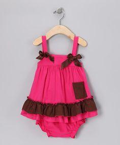 Look at this #zulilyfind! Pink & Brown Tunic & Diaper Cover - Infant #zulilyfinds