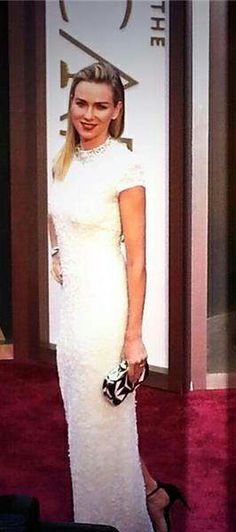 Naomi Watts #redcarpet #AcademyAwards #NaomiWatts #Oscars2014 White Calvin Klein with Bulgari jewels via http://www.flipsidepa.com