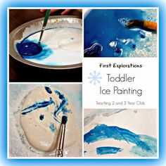 Toddler Art painting and mixing colors on ice