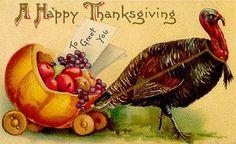 To Greet You----Vintage Thanksgiving Postcard