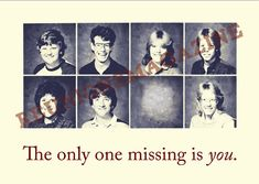 The only one missing is you. Class Reunion Postcard. Great reminder for your classmates to register for your upcoming class reunion. Customizable digital file available on Etsy for $15
