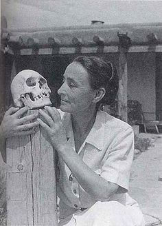 Georgia O'Keeffe and Skull - Ghost Ranch House Patio -1942