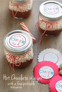 Hot chocolate in a jar with a free printable tag - fun neighbor gift!  - NoBiggie.net