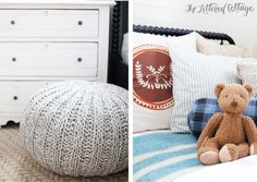 Kids Room | Boys Bedroom | Gray Ottoman Jenny Lind Bed and Teddy Bear from Land of Nod | Bedding from Schoolhouse Electric