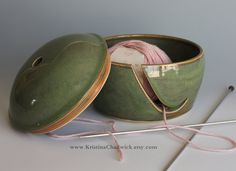 Lidded Yarn Bowl - as a collector of hand thrown pottery and a knitter, I would love to have one of these bowls.