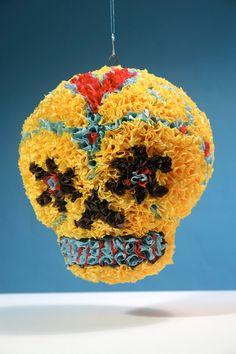 Handmade Sugar Skull Pinata - Day of the Dead - Original Design - Paper Mache