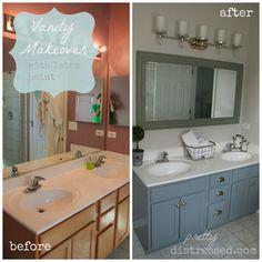 vaniti makeov, chalk paint, small bathroom, bathroom makeovers, bathroom vanities, latex paint, paint techniqu, diy bathroom vanity makeover