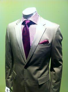 fashion men, gingham, grey suits, purple, shirts