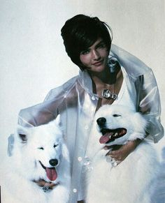 EVERYTHING about this image is perfect...especially the Samoyed pups! -- 'White Magic' from Vogue UK March 1990 feat Helena Christensen