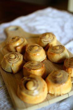 Pumpkin Cinnamon Rolls w/ Maple Cream Cheese Icing