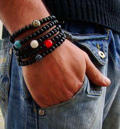 Men's braceletFive bracelet setNatural stone and Wood by PlayArt, $22.00