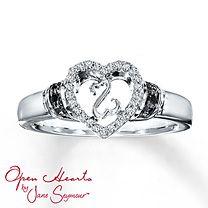 Open Hearts by Jane Seymour® Black & White Diamond Ring~ Kay Jewelers