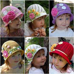 How to DIY Crochet Vintage Girls Brimmed Sun Hat   www.FabArtDIY.com LIKE Us on Facebook ==> https://www.facebook.com/FabArtDIY