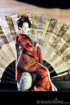 Japanese geisha doll, woman in kimono
