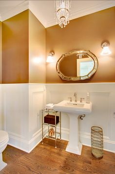 Powder Room Ideas. Great powder room design. The mirror is the Etched Mirror by Rejuvenation. #PowderRoom #PowderRoomIdeas